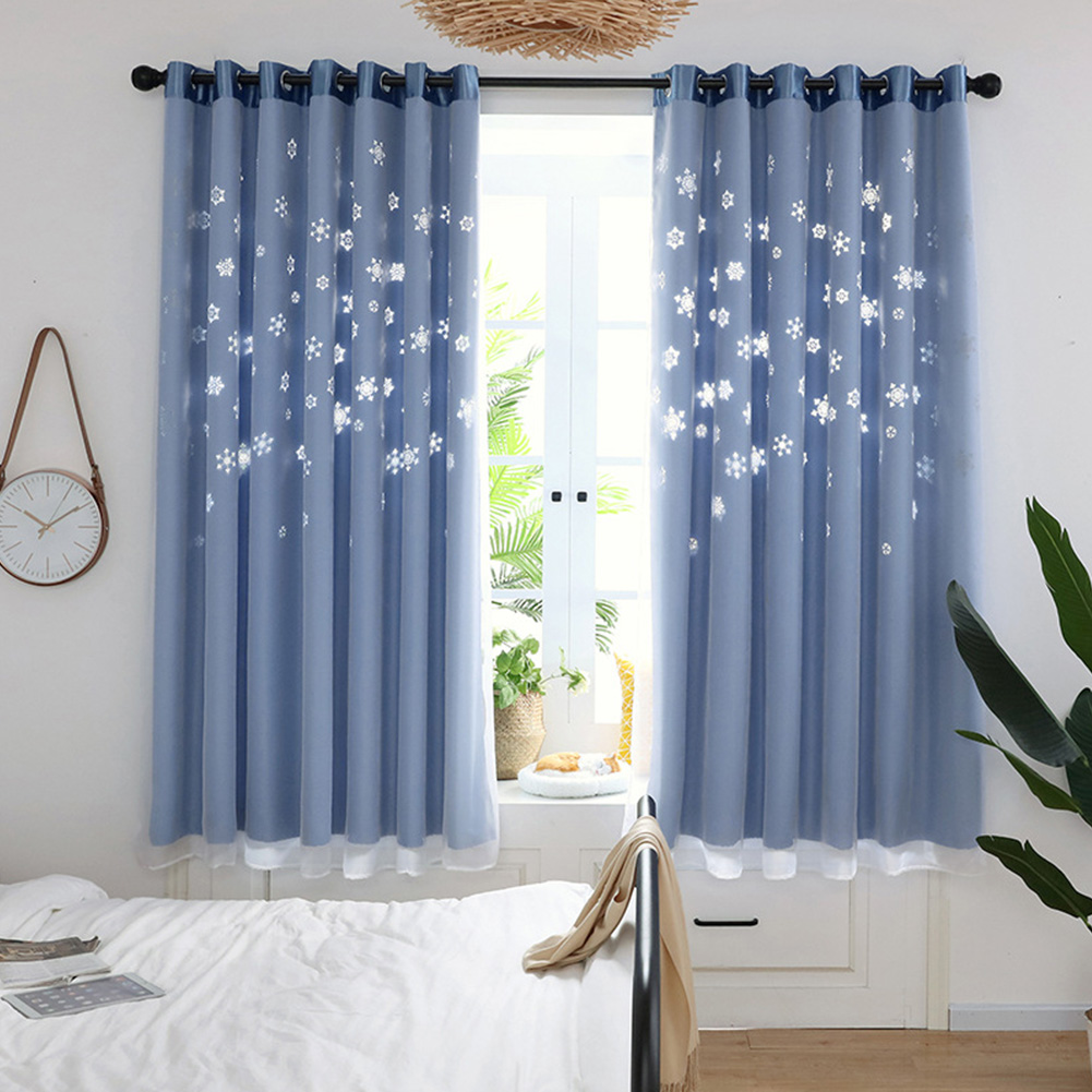 Hollow Out Flower Window Curtain for Shading Home Decoration blue_1 * 2m high punch