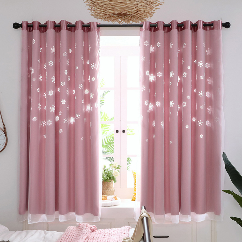Hollow Out Flower Window Curtain for Shading Home Decoration Pink_1 * 2m high punch