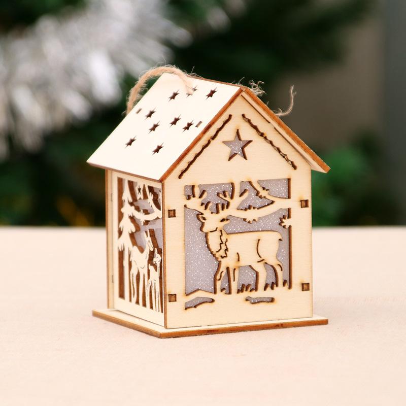 Xmas Luminous Wooden House Hotel Christmas Tree Window Decoration Pendant Ornaments DIY Gift S-4#