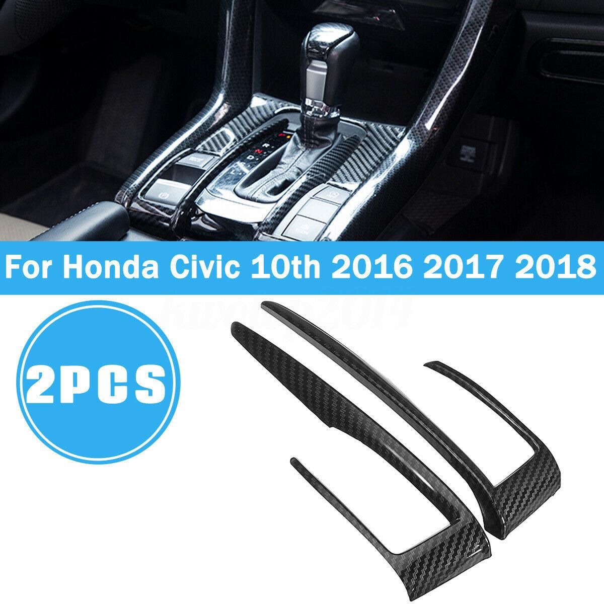 2pcs/set Carbon Fiber Gear Shift Frame Cover Trim For Honda Civic 10th 2016 2017 2018 Carbon fiber