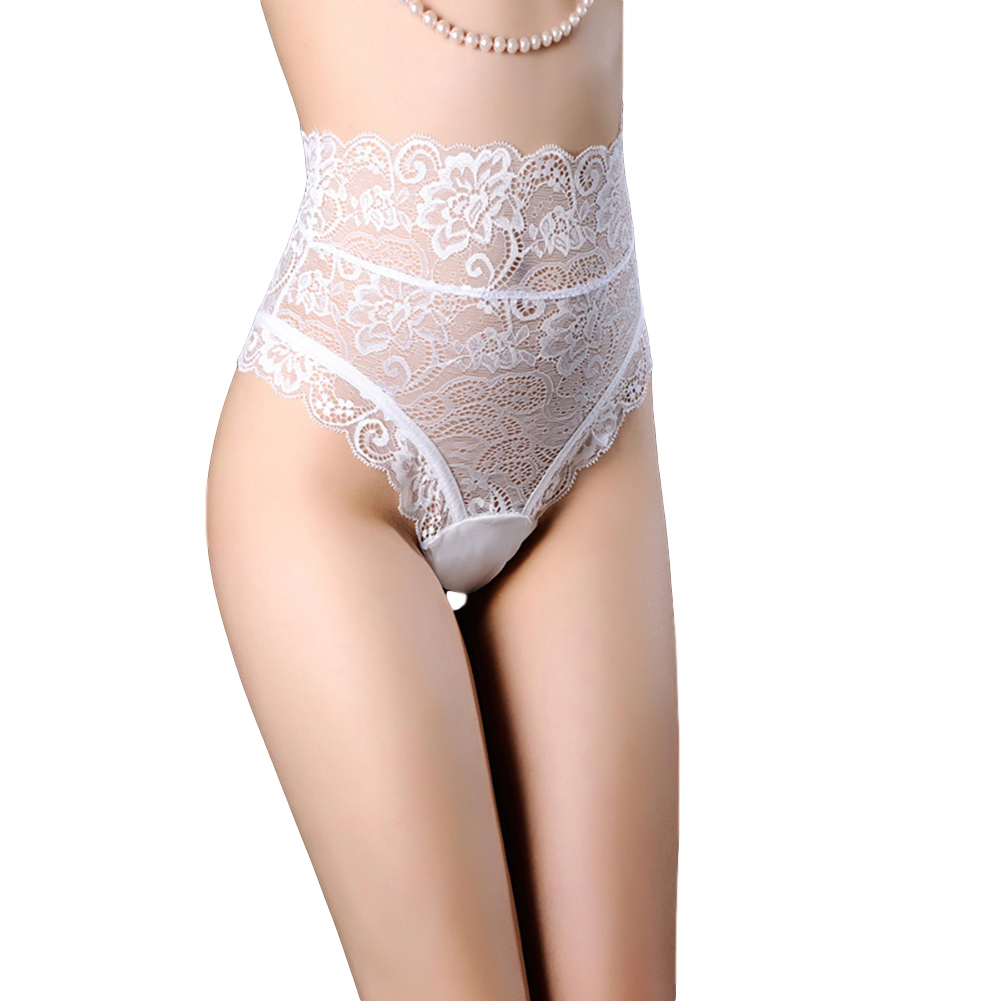 Women's Underpants Sexy Lace Hollow Breathable Solid Color Briefs white_XL