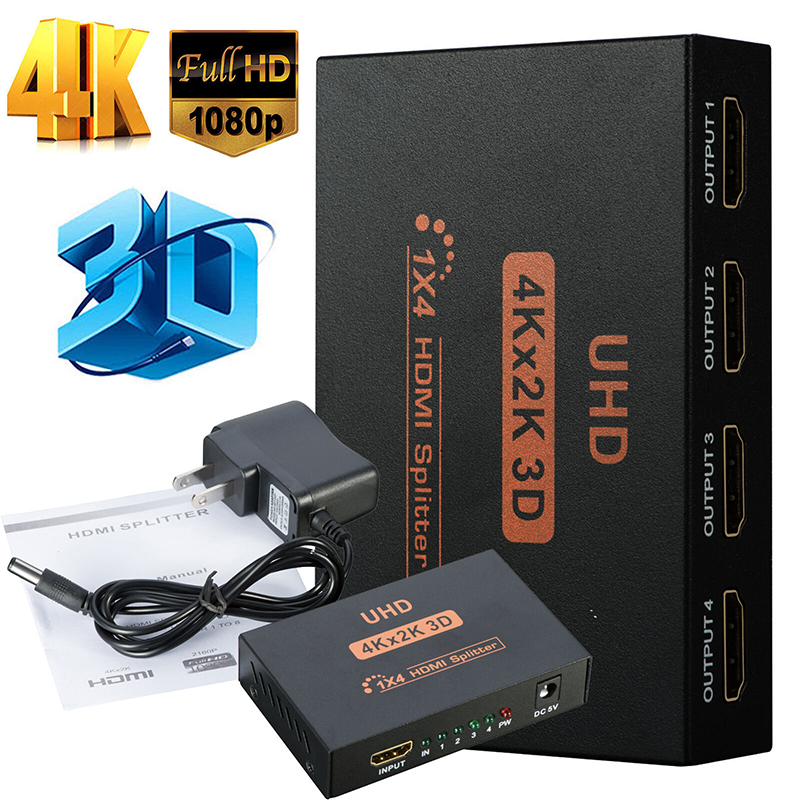 Ultra HD 4K 4 Port HDMI Splitter 1x4 Repeater Amplifier 1080P 3D Hub 1 In 4 Out EU plug