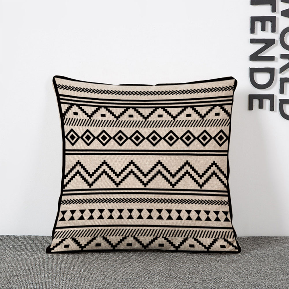 Geometrical Pattern Linen Throw Pillow Cover for Office Decor without Filling