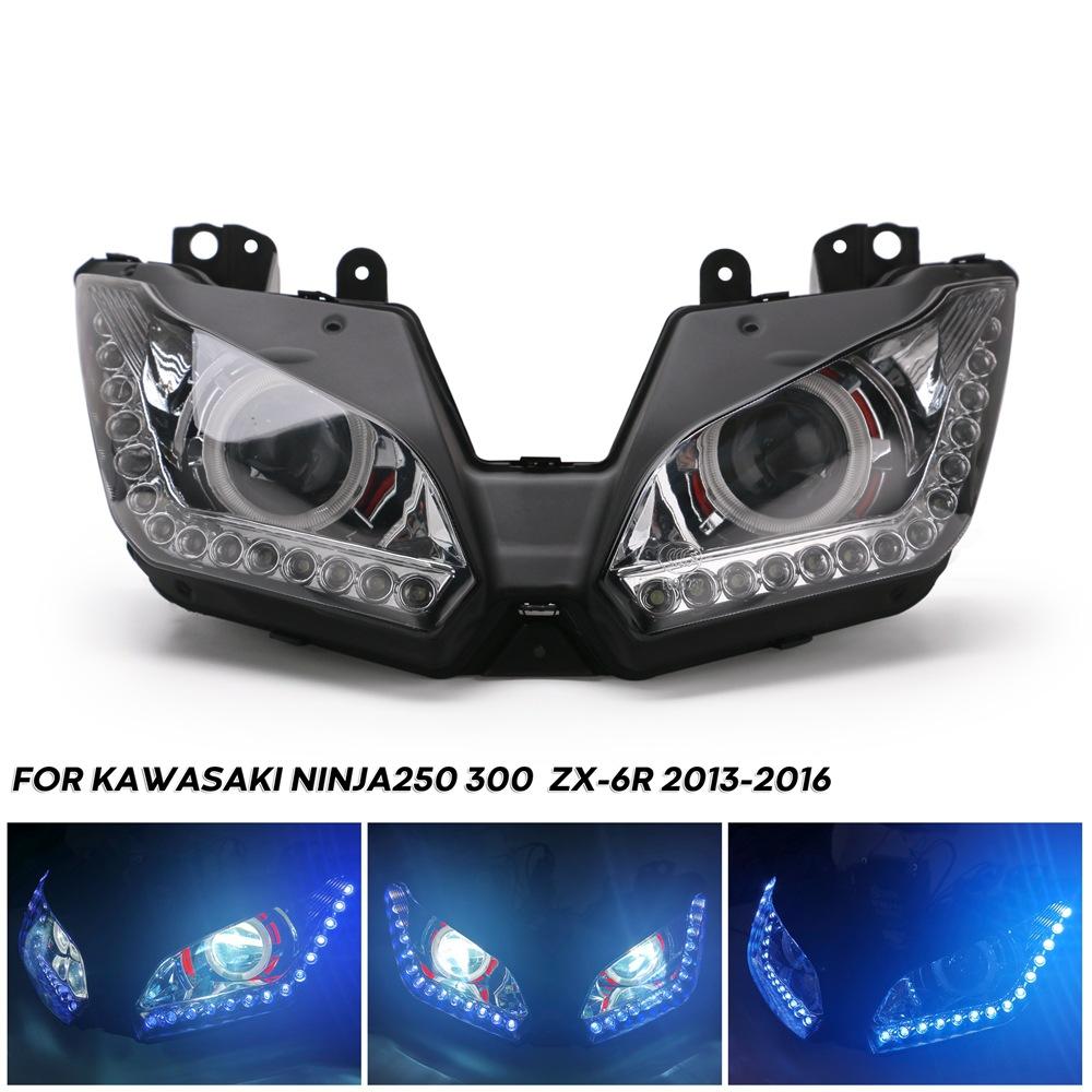 Motorcycle headlights assembly Angel eyes for Kawasaki NINJA 250 300 ZX6R ZX 6R 13-16 hf055