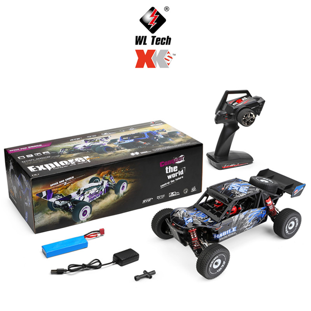 Wltoys 124018 60Km/h High Speed RC Car 1/12 Scale 2.4G 4WD RC Off-road Crawler RTR Electric RC Climbing Car Toy for Kids blue