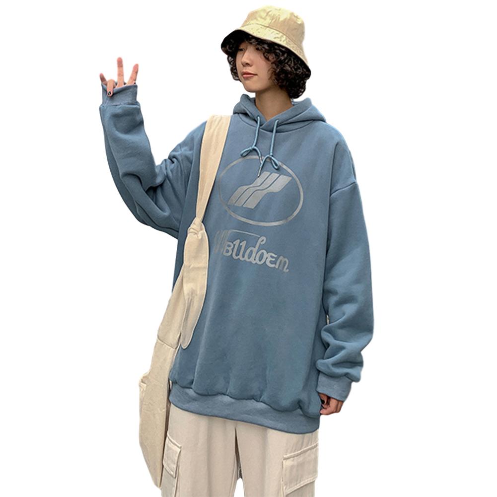 Couples Long-sleeved Hoodies Fashion Fleece retro printing pattern Loose Hooded Long Sleeve Top Blue _L