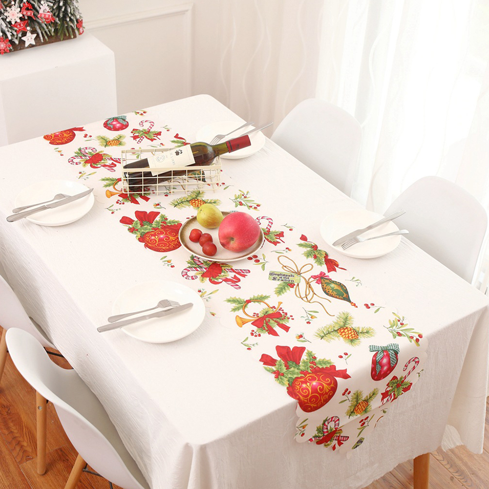 1PC 178x35cm Christmas Series Printing Table Runner for Home Party Decoration D