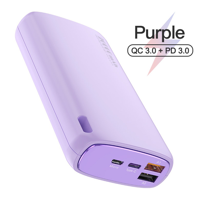 18w Fast  Charging  Power  Bank 20000 Mah Portable Mobile Phone External Battery Powerbank Purple