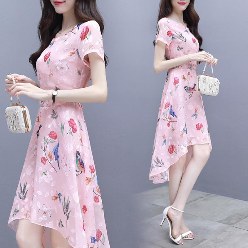Summer Irregular Middle Long Dress Flower Bird Short Sleeves Slim Causal Dress Pink_M
