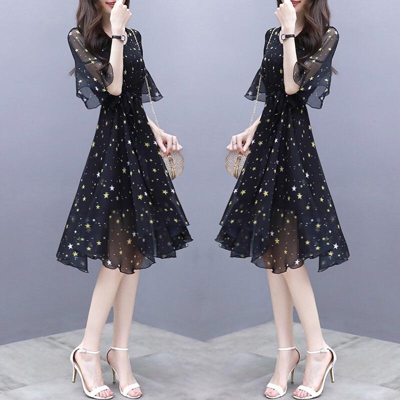 Summer Slim V-neck Ribbon Dress Elegant Star Flare Sleeves Middle Long Printing Dress black_M