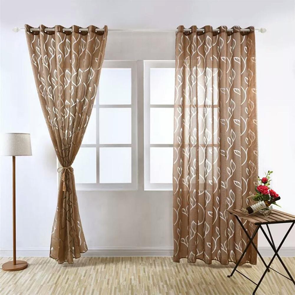 1PC Luxury Fashion Jacquard Leaf Semi-blackout Curtain Drape for Home Hotel Decoration  Brown_100X200CM rod Pocket