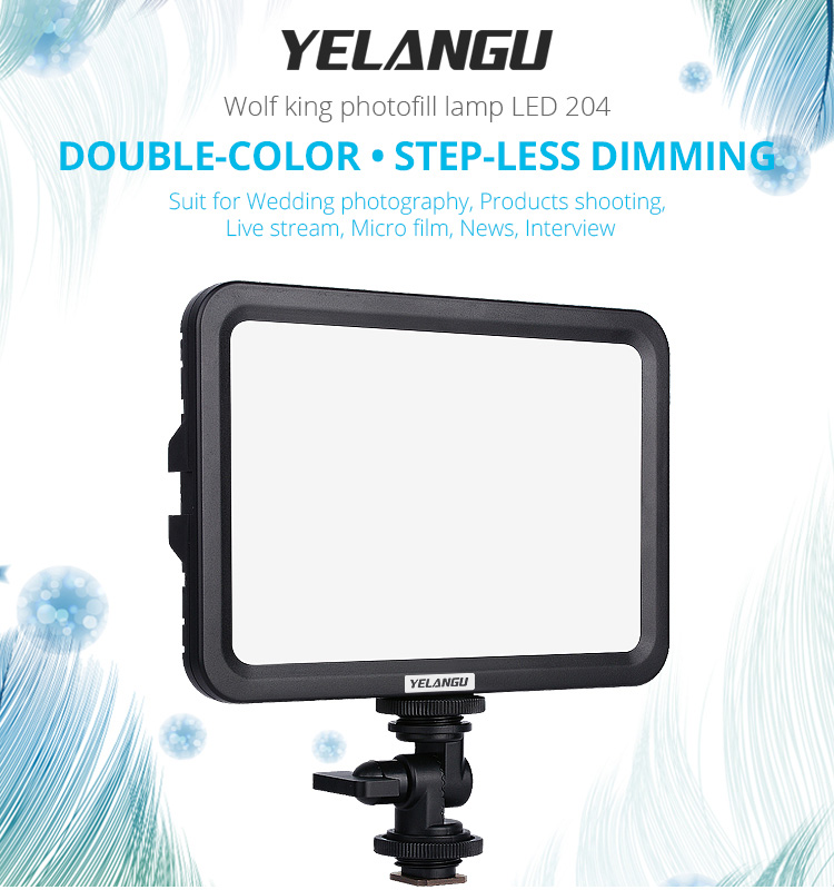 LED Camera Light Stepless Dimming Fill Lamp Photograph Flashes Lights Wedding Light for Camera black