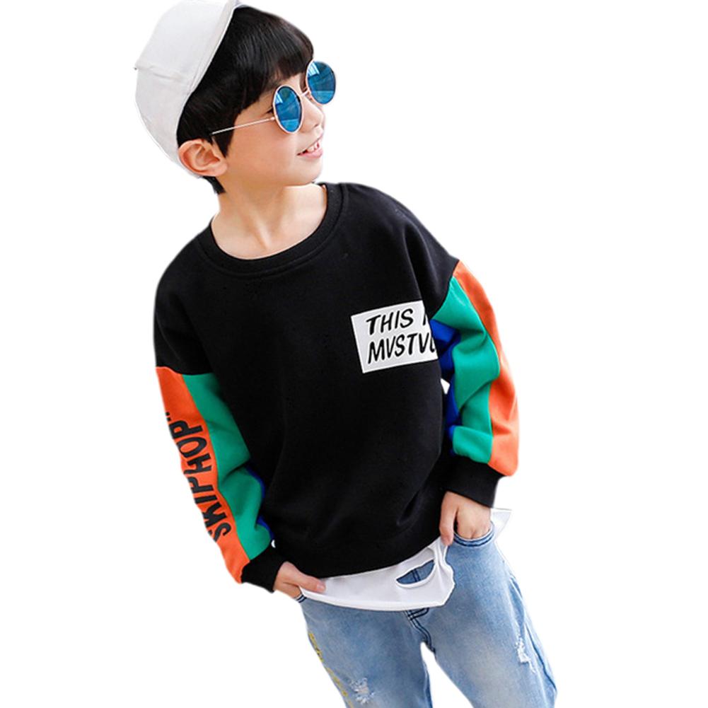 Boy Cartoon Printed Long Sleeve Jacket Sweatshirts for Children Campus Sports JLC black letters_140cm