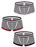 Body Shaper Men's Stripe Cotton Enlargement U Convex Boxers Red