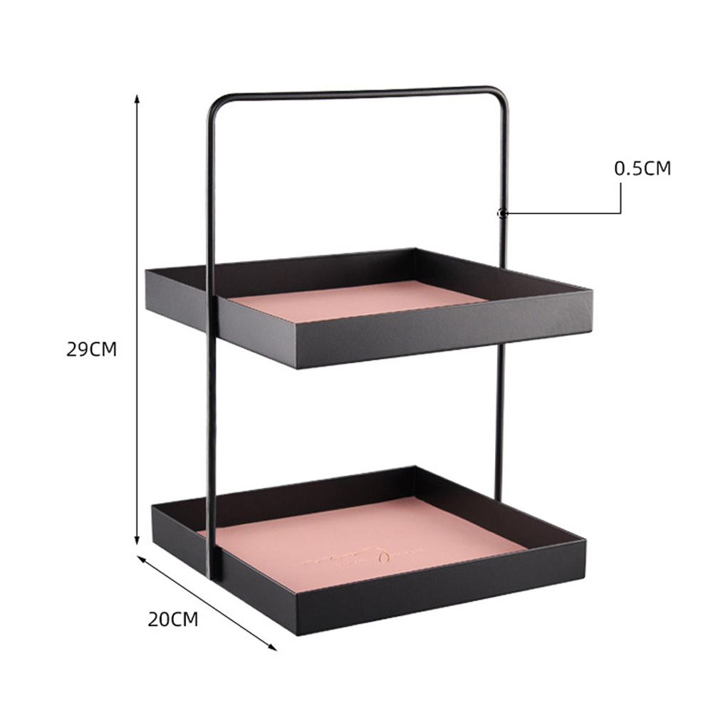 Metal Storage Tray Storage Tray Double Layer Leather Pad Sundry Sorting Tray As shown_Square large