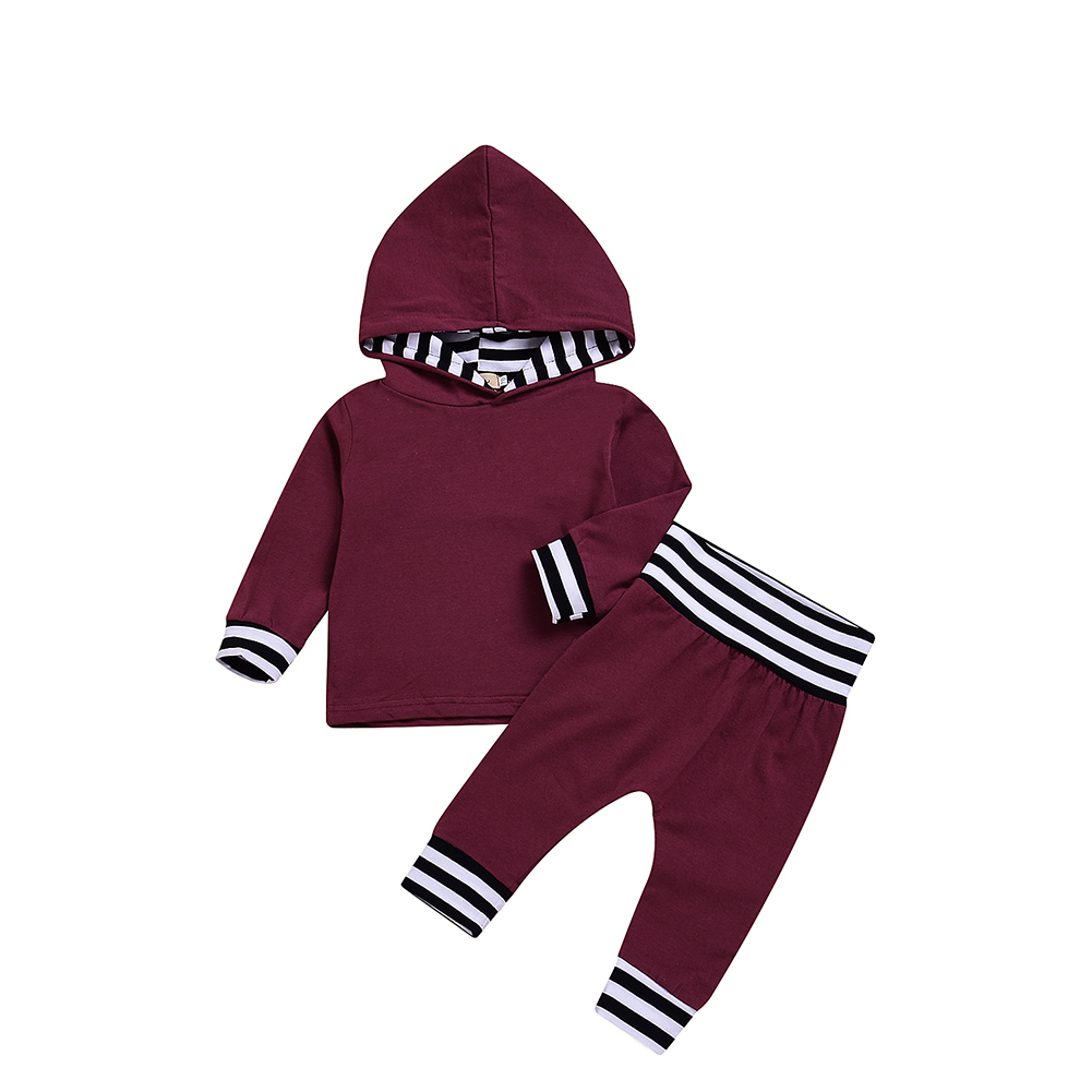 2pcs Cute Baby Clothes Set Wine Red Hooded Long Sleeve Tops + Long Pants Winter Autumn Kids Costumes