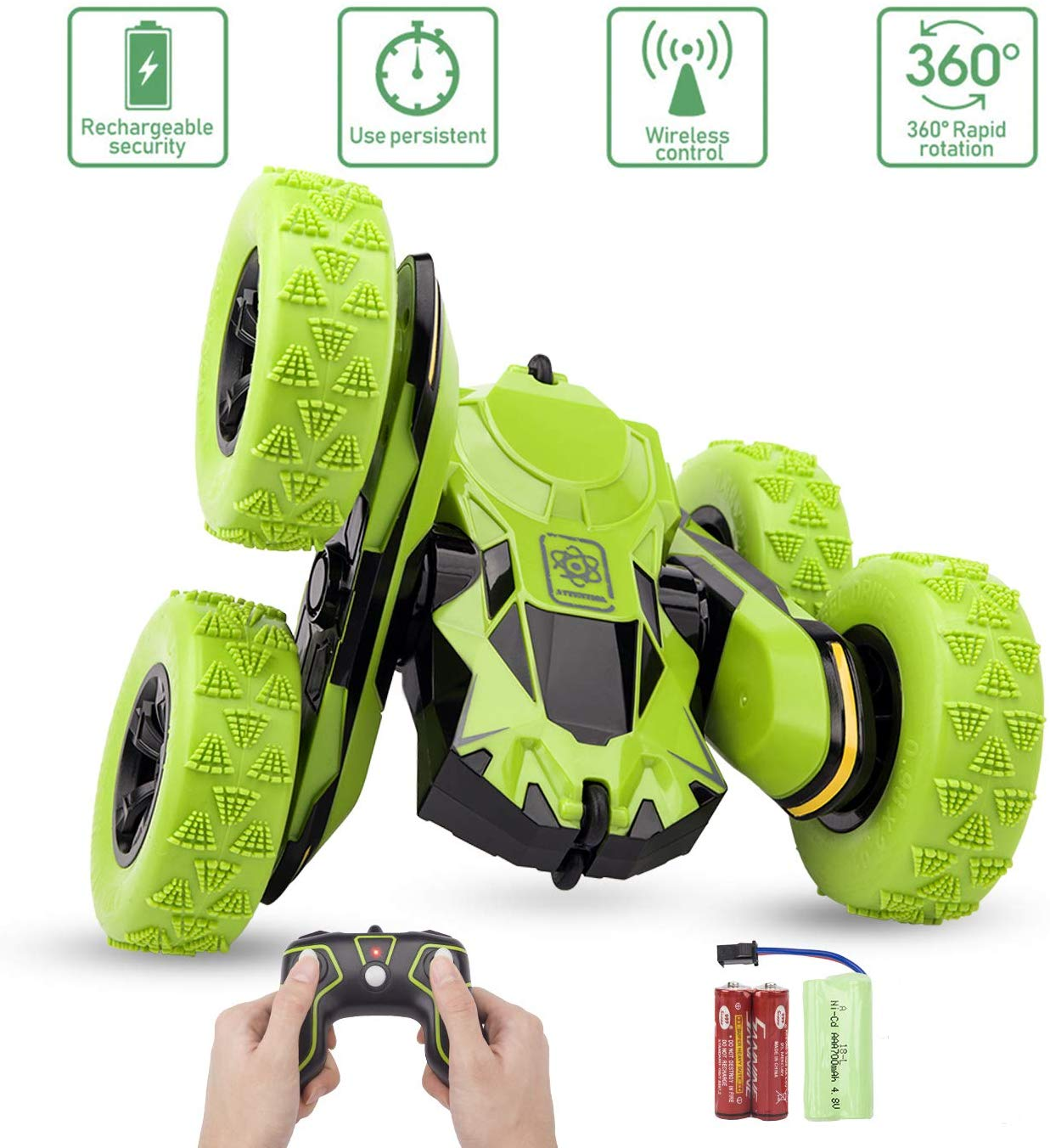 Remote Control Stunt Car Rc 4WD Off Road Rechargeable 2.4Ghz 3D Deformation Racing Car Double Sided Rotating Tumbling 360° Flips Off Road High Speed 7.5Mph Truck green
