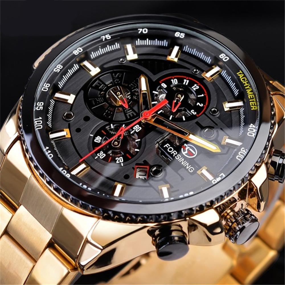 Men Fashion Waterproof Multi-Function Automatic Mechanical Watch Gold belt black dial