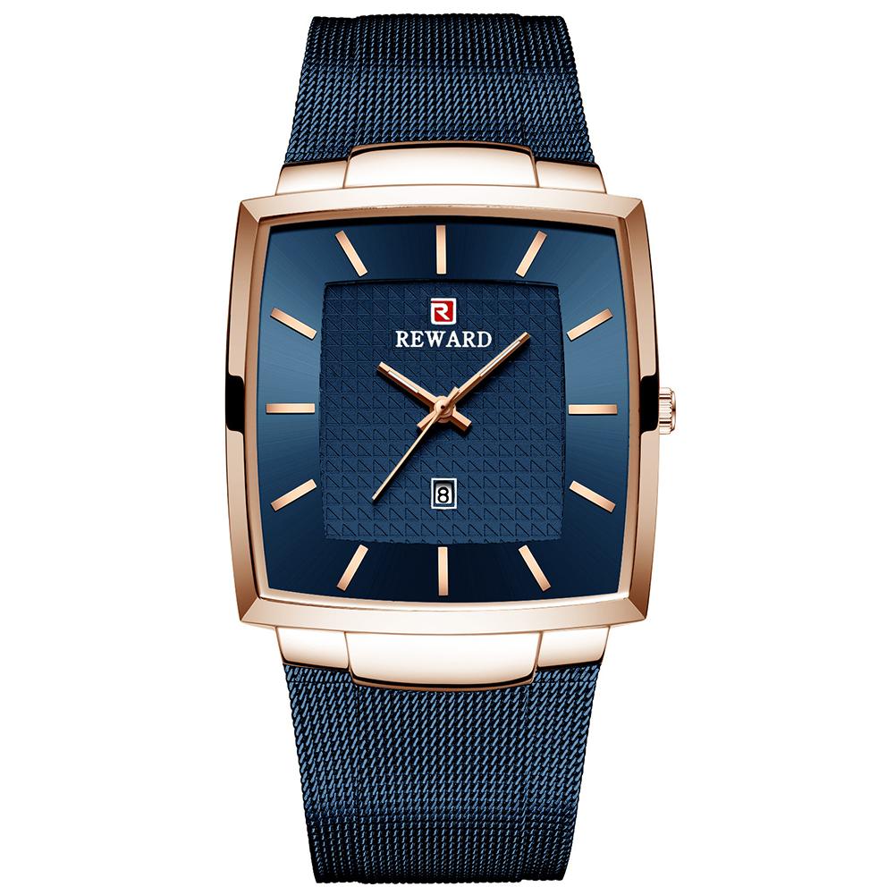 Business Wristwatch for Men Waterproof Square Watch Mesh Belt Quartz Watch blue