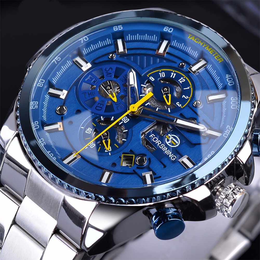 Men Fashion Waterproof Multi-Function Automatic Mechanical Watch Silver belt blue dial