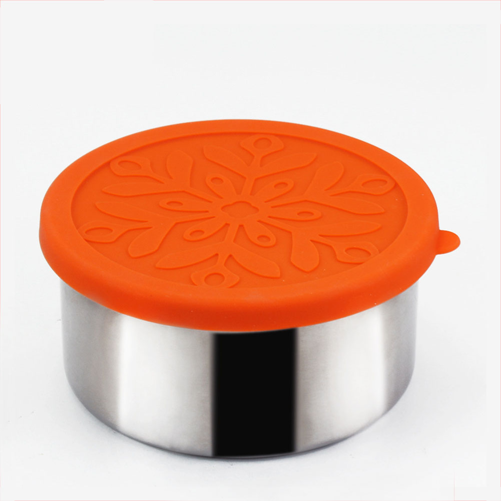 Round 304 Stainless Steel Thermal Insulation Lunch Box with Silicone Cover Leak-Proof Food Container Bento Box