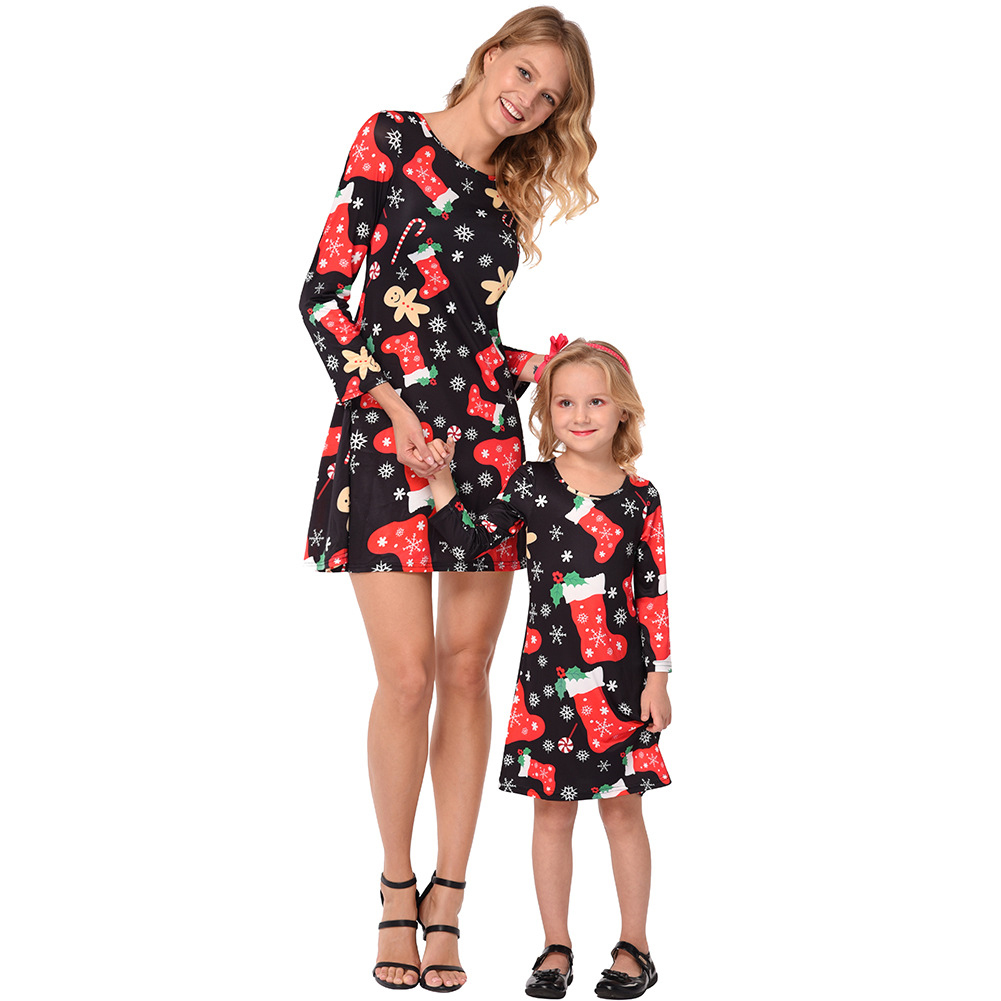 Parent-child Outfit Christmas Snowflake Stockings Printed Long-sleeved Dress Matching Clothes black_100cm-children