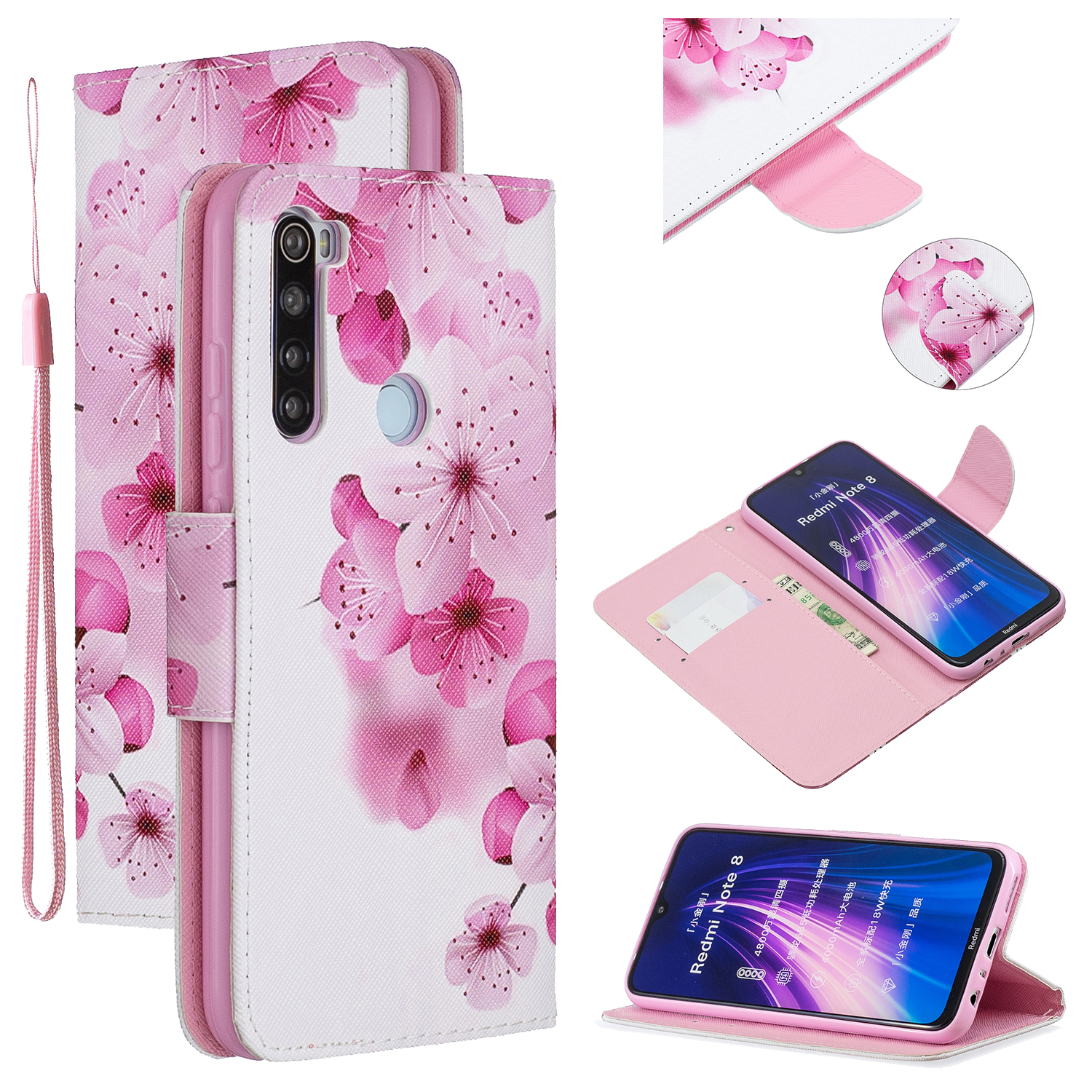 For Redmi Note 8/8 Pro Cellphone Cover Stand Function Wallet Design PU Leather Smartphone Shell Elegant Pattern Printed  peach blossom