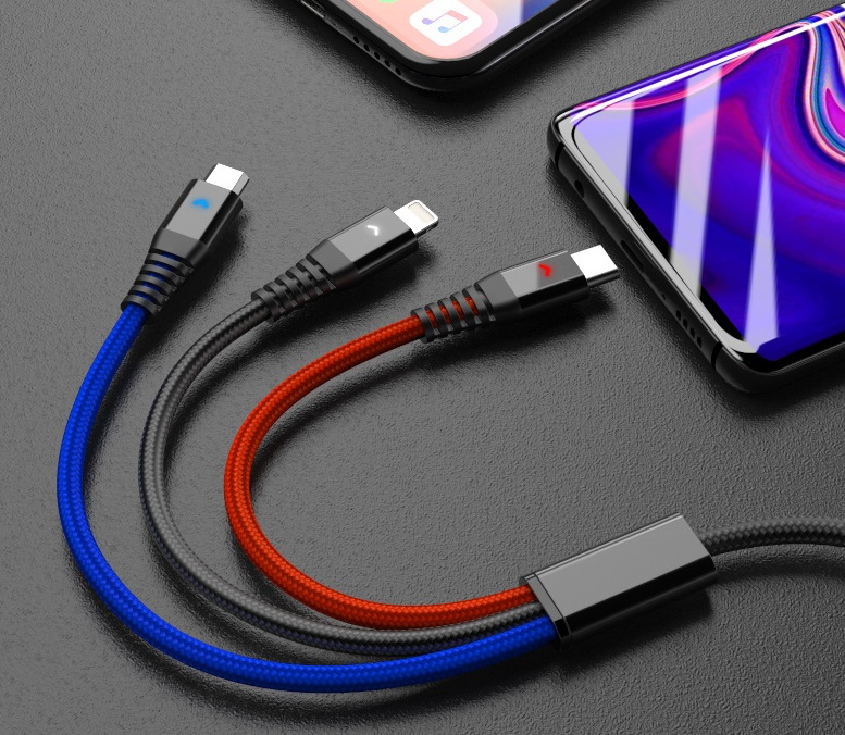 3 in 1 Multiple USB Fast Charging Cord Type C/Micro USB Connector for iPhone 7Plus/Galaxy S8 More