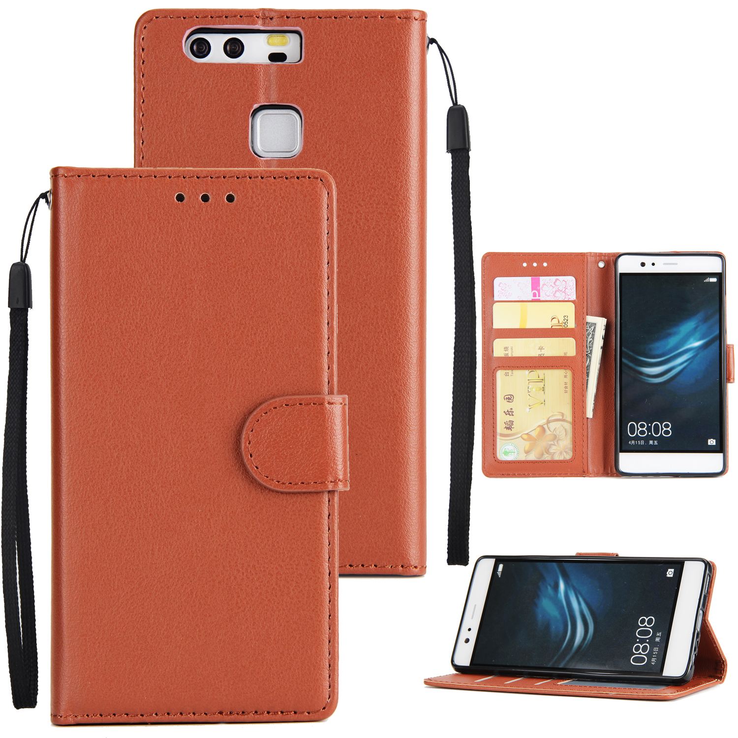 For Huawei P9 plus PU Leather Smart Phone Case Protective Cover with Buckle & 3 Card Position  brown