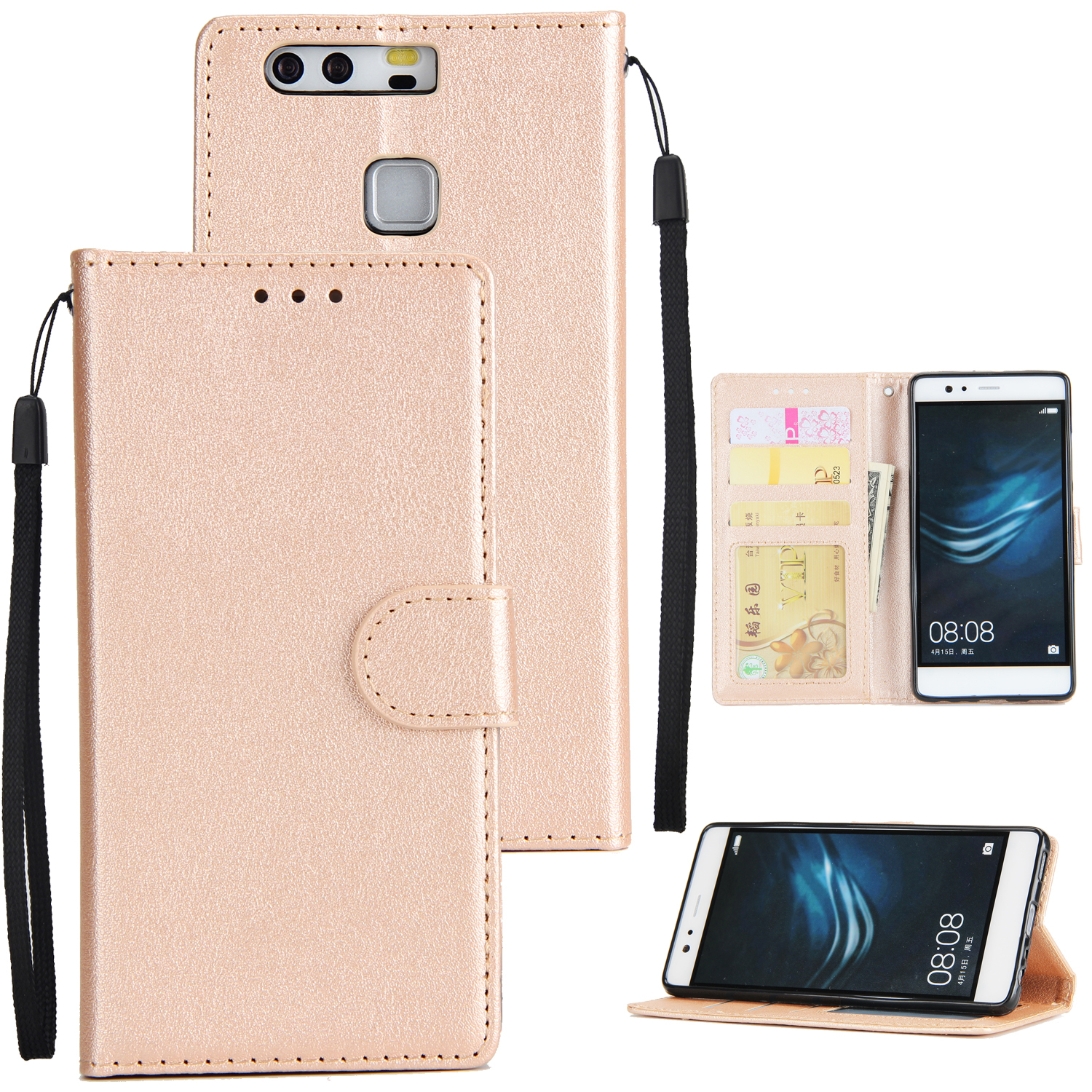For Huawei P9 plus PU Leather Smart Phone Case Protective Cover with Buckle & 3 Card Position  Golden