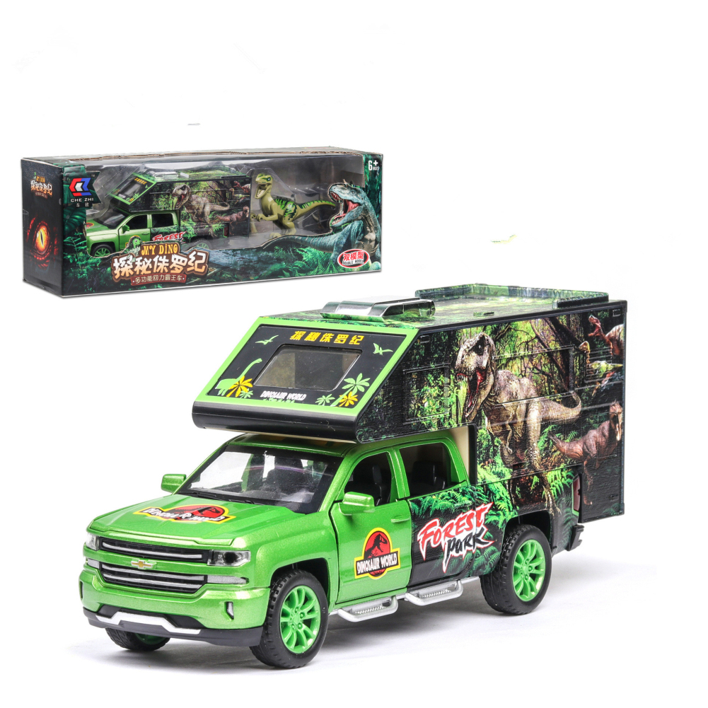 1:32 Simulation Car Model Dinosaur Transport Vehicle Light Sound Doors Open Alloy Pull Back Toy Gift Collection green
