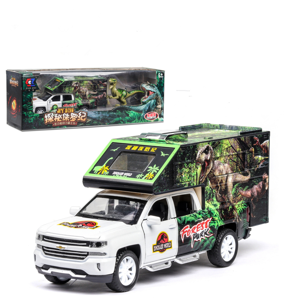1:32 Simulation Car Model Dinosaur Transport Vehicle Light Sound Doors Open Alloy Pull Back Toy Gift Collection white