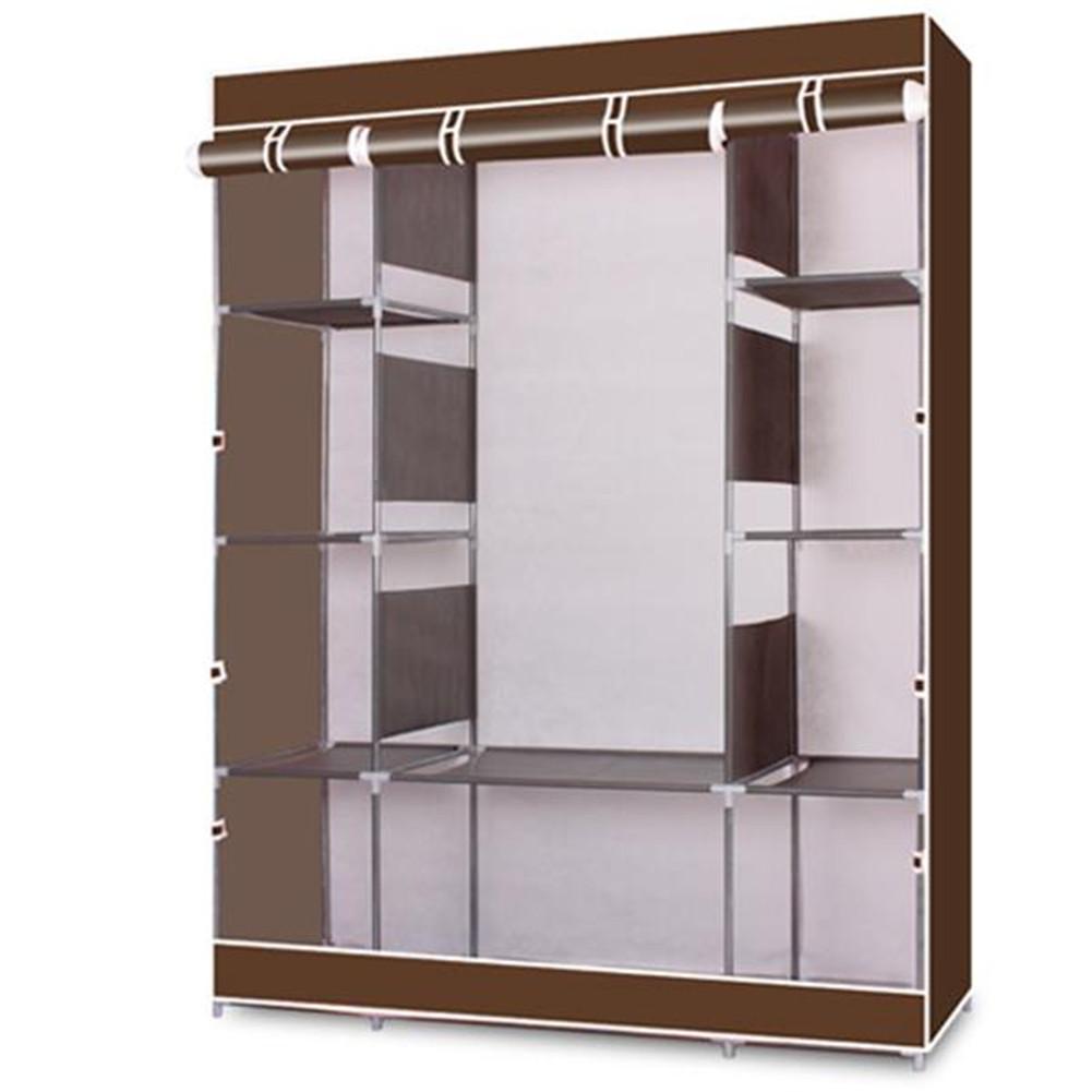 [US Direct] Portable Clothes  Closet Wardrobe Non-woven Fabric 4-tier 10-Lattices Storage Organizer Coffee