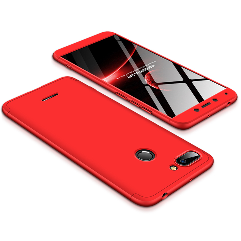 For Redmi 6 3 in 1 Hybrid Hard Case Full Body 360 Degree Protection Back Cover  red