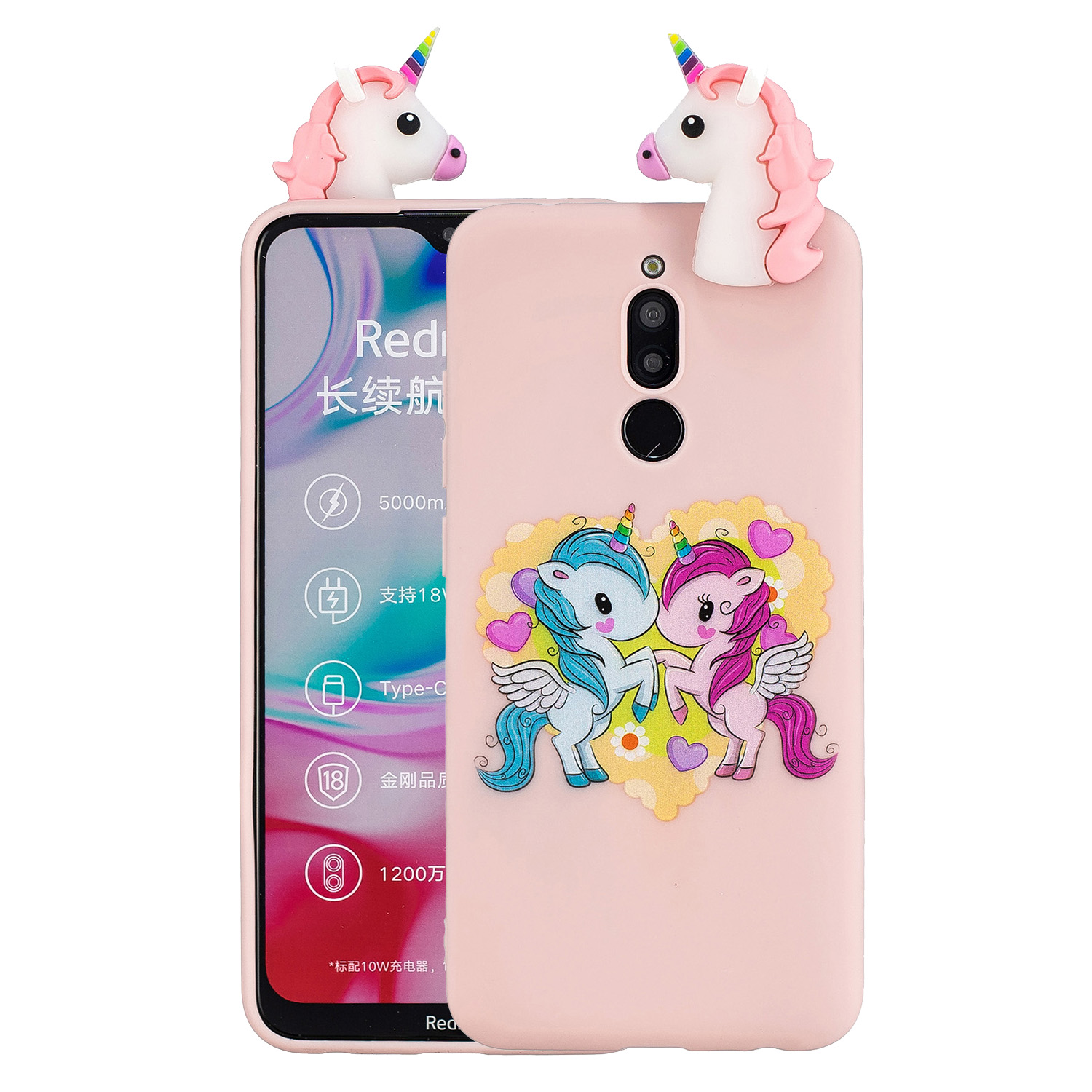 For Redmi 8/8A/5/Note 8T Mobile Phone Case Cute Cellphone Shell Soft TPU Cover with Cartoon Pig Duck Bear Kitten Lovely Pattern Pink