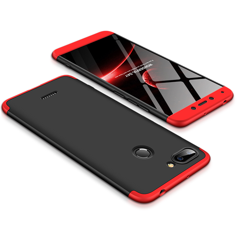 For Redmi 6 3 in 1 Hybrid Hard Case Full Body 360 Degree Protection Back Cover  Red black red