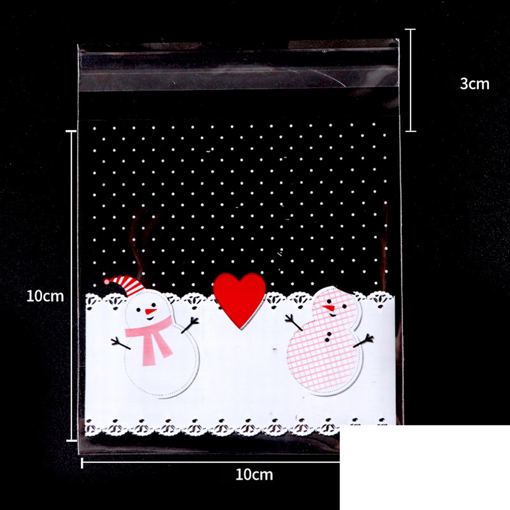 100pcs Christmas Tree Snowman Baking Bag Mooncake Cookie Biscuits Baking Packing Bag Gift Bag 101 love snowman