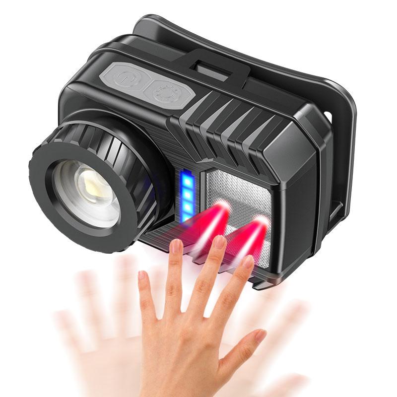 LED Multifunction Headlamp Adjustable Zoom Sensor Head Lamp for Camping black_Model K120