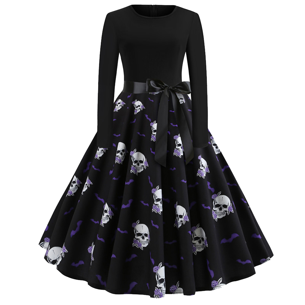 Halloween Pumpkin Print Dress with Long Sleeves and Belt JY13071_L