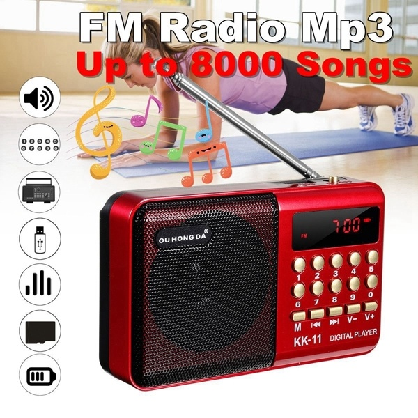 K11 FM Rechargeable Mini Portable Radio Handheld Digital FM USB TF MP3 Player Speaker Black red_K11