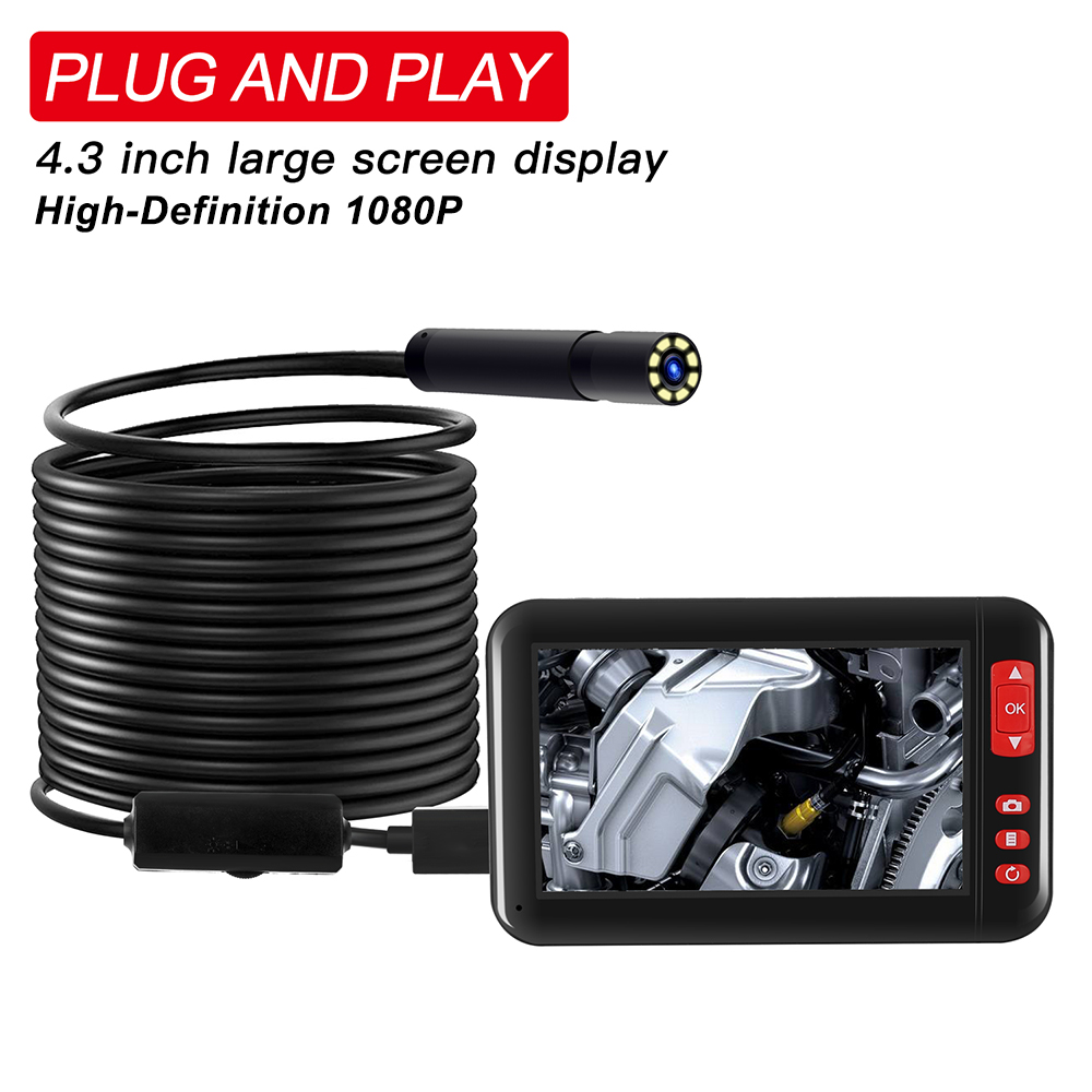 Industrial Endoscope Borescope Inspection Camera 4.3inch HD 1080P Display Screen Built-in 8 LEDs 8mm Lens 2000mAh Rechargeable Lithium Battery 10m