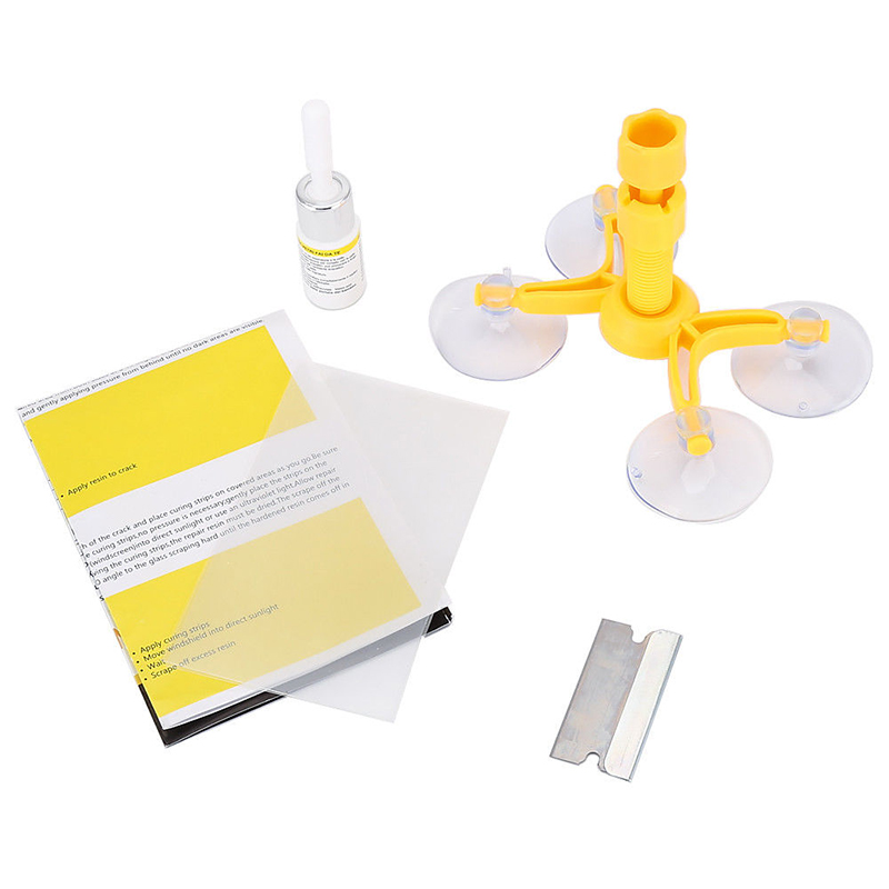 Cracked Glass Repair Kit Windshield Glass Scratch Kits DIY Car Window Tools  yellow