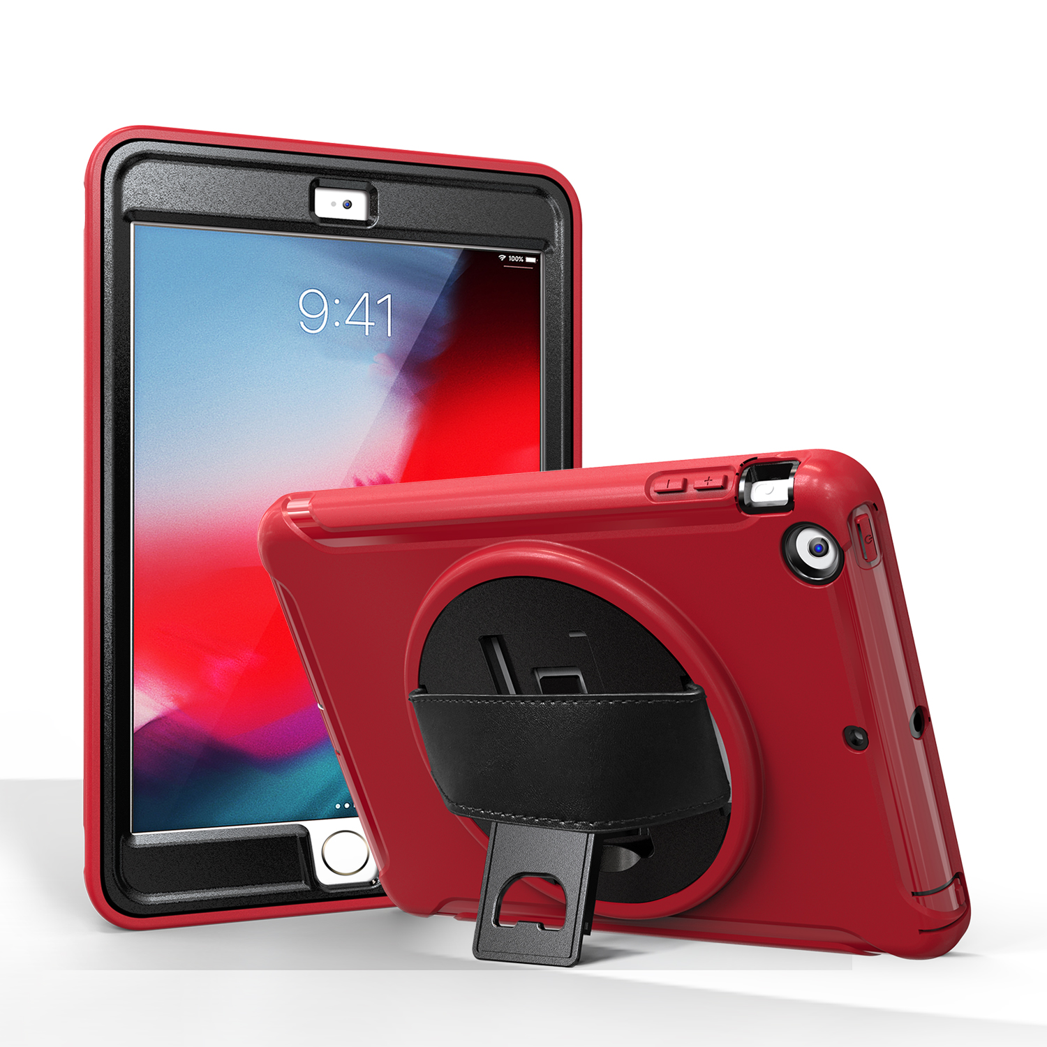 For ipad MINI 1 / 2 / 3 Wrist Handle Tri-proof Shockproof Dustproof Anti-fall Protective Cover with Bracket red