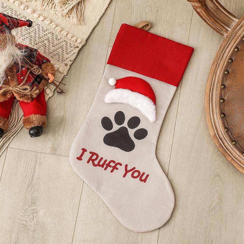 Christmas Stocking Dog Cat Paw Kids Gift Candy Bag For Christmas Decorations Pet socks big cap I R u f f