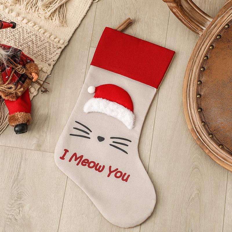 Christmas Stocking Dog Cat Paw Kids Gift Candy Bag For Christmas Decorations Pet socks big cap I m e r e