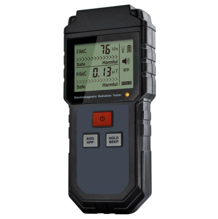 ET825 Electromagnetic Field Radiation Detector Tester Emf Meter Rechargeable Handheld Counter Emission Dosimeter black