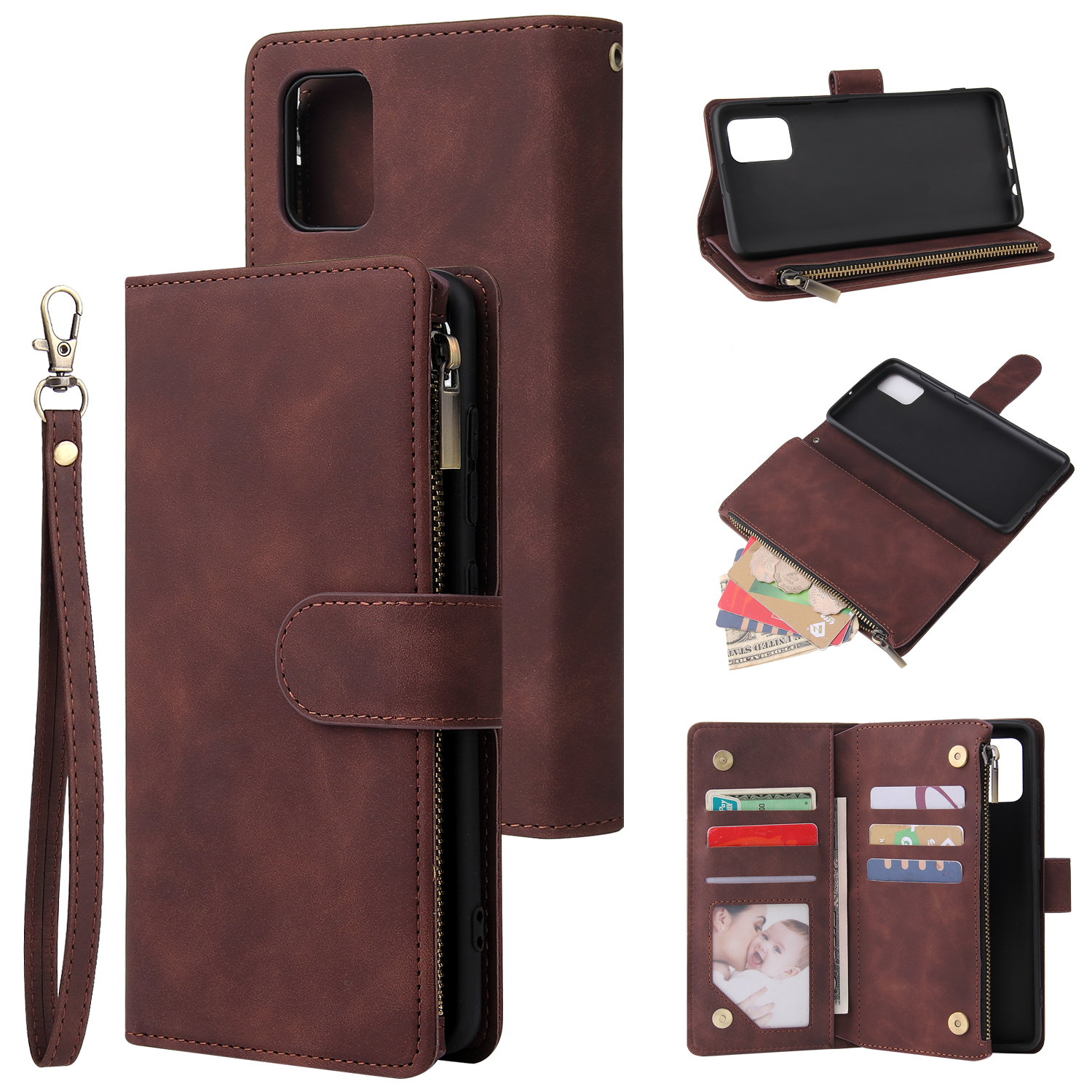 For Samsung A51 Case Smartphone Shell Precise Cutouts Zipper Closure Wallet Design Overall Protection Phone Cover  Coffee