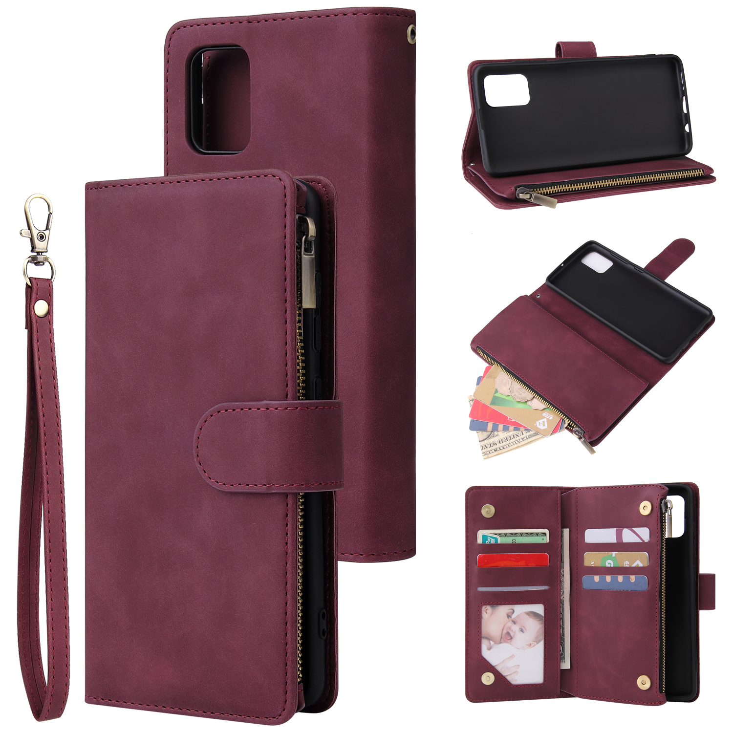 For Samsung A51 Case Smartphone Shell Precise Cutouts Zipper Closure Wallet Design Overall Protection Phone Cover  Wine red