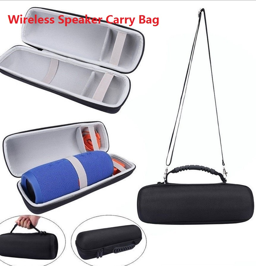 Portable Hard Carrying Case Cover Storage Bag for JBL Charge 3 Wireless Bluetooth Speaker gray + shoulder strap