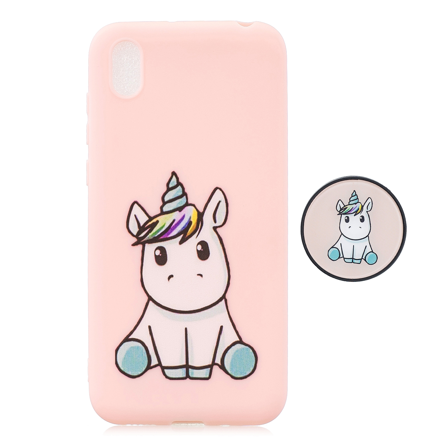 For HUAWEI Y5 2019  Lightweight Soft TPU Phone Case Pure Color Phone Cover Cute Cartoon Phone Case with Matching Pattern Adjustable Bracket 6